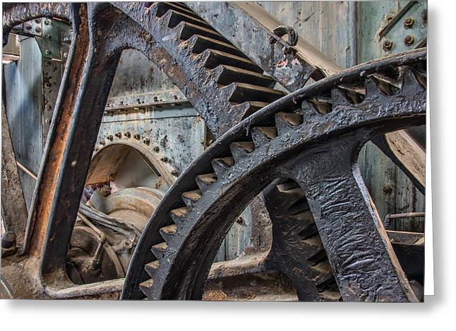 Custer Dredge Gears Greeting Card by Leland D Howard