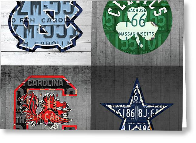 Custom 4 Team License Plates Sport Art No 1 Greeting Card