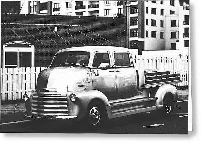 Custom Chevy Asbury Park Nj Black And White Greeting Card