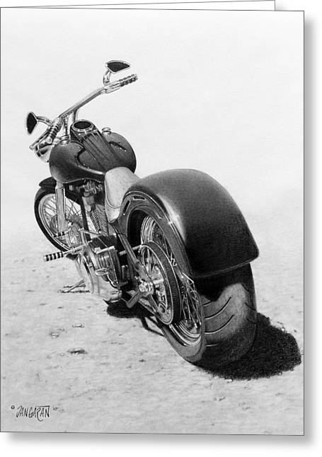 Graphite Drawing Greeting Cards - Custom Chopper Greeting Card by Tim Dangaran