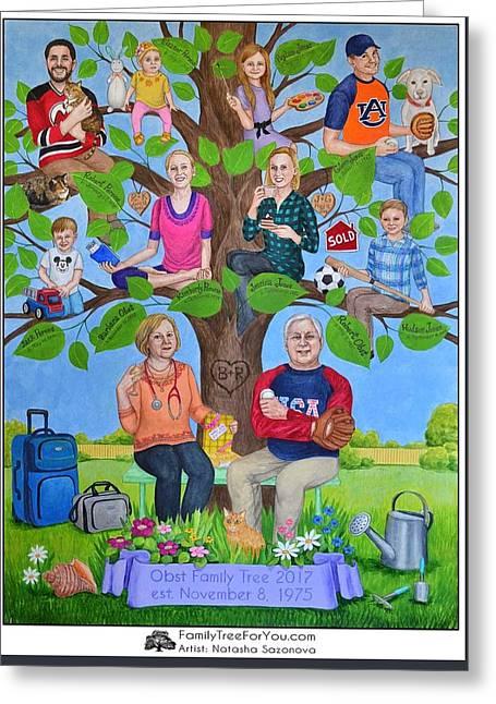 Custom Family Tree Art For Mom's 65th Birthday Greeting Card by Natasha Sazonova