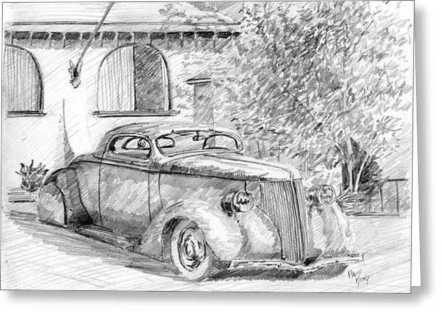 Greeting Card featuring the drawing Custom Ford Graphite by David King