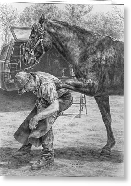 Farrier Greeting Cards - Custom Made - Farrier with Horse Art Print Greeting Card by Kelli Swan