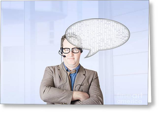 Customer Service Man Talking Through Speech Icon Greeting Card