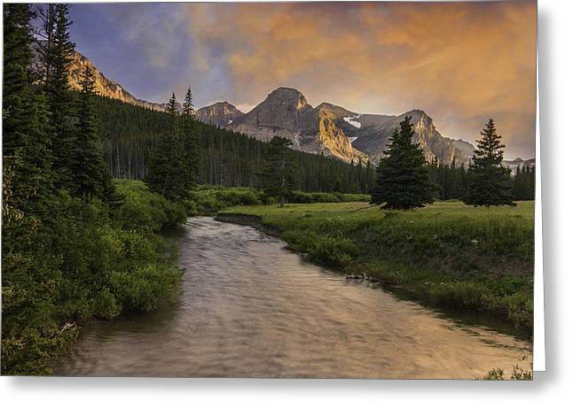 Cut Bank Creek At Sunset Greeting Card by Thomas Schoeller