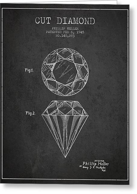 Cut Diamond Patent From 1873 - Charcoal Greeting Card by Aged Pixel