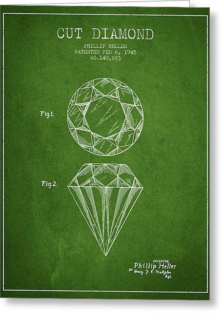 Cut Diamond Patent From 1873 - Green Greeting Card by Aged Pixel