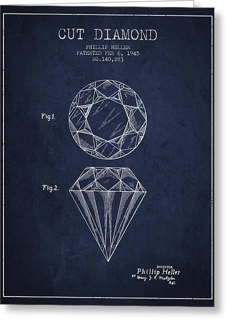 Cut Diamond Patent From 1873 - Navy Blue Greeting Card by Aged Pixel
