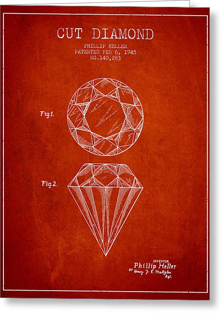 Cut Diamond Patent From 1873 - Red Greeting Card by Aged Pixel