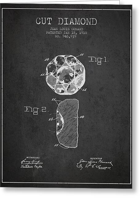 Cut Diamond Patent From 1910 - Charcoal Greeting Card by Aged Pixel
