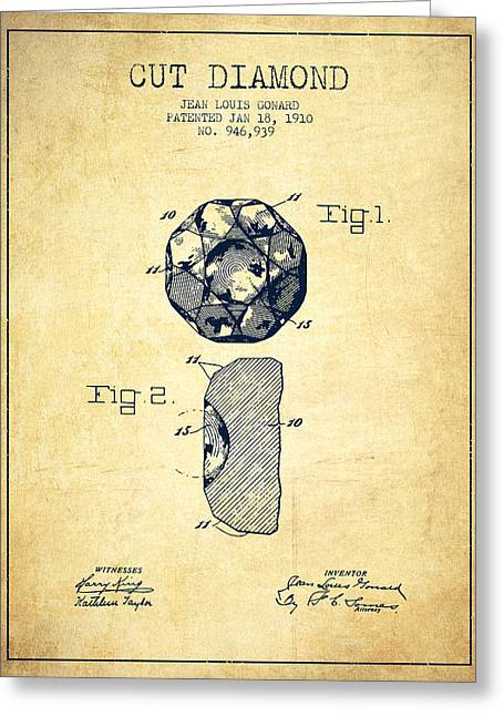 Cut Diamond Patent From 1910 - Vintage Greeting Card by Aged Pixel
