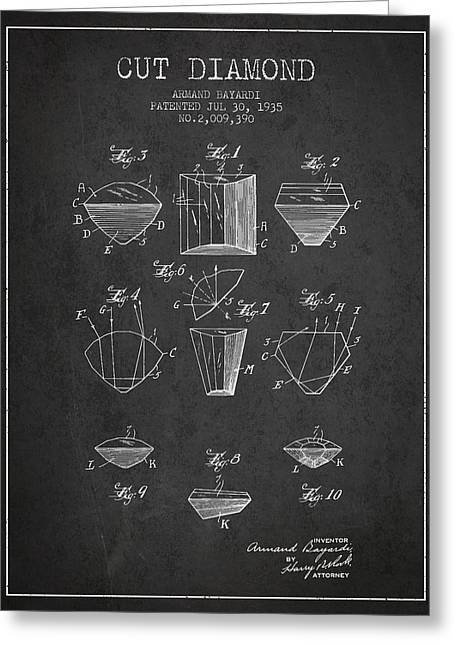 Cut Diamond Patent From 1935 - Charcoal Greeting Card by Aged Pixel