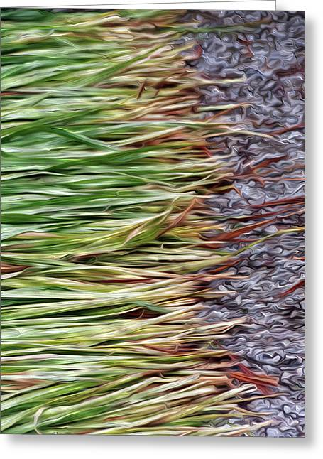 Cut Grass And Pebbles Greeting Card