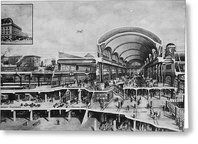 Cutaway View Of Chicago Terminal Greeting Card