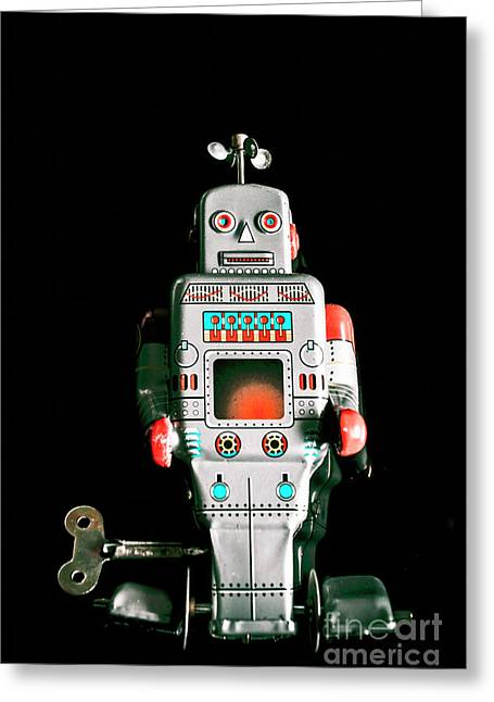 Cute 1970s Robot On Black Background Greeting Card