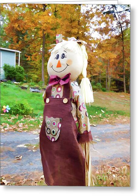 Cute And Friendly Scarecrow 4 Greeting Card