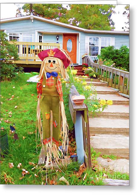 Cute And Friendly Scarecrow 5 Greeting Card