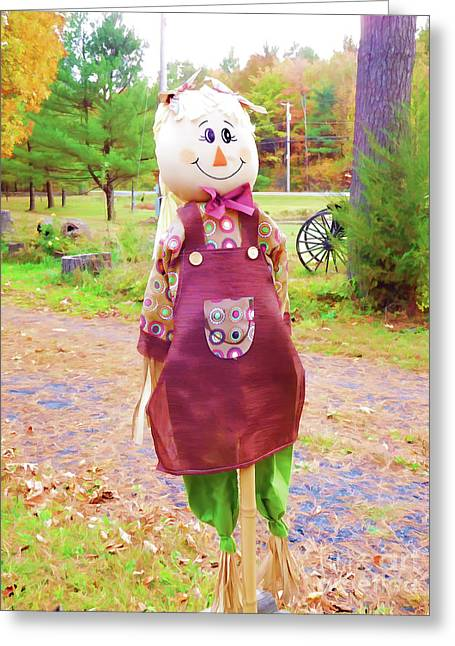 Cute And Friendly Scarecrow 6 Greeting Card