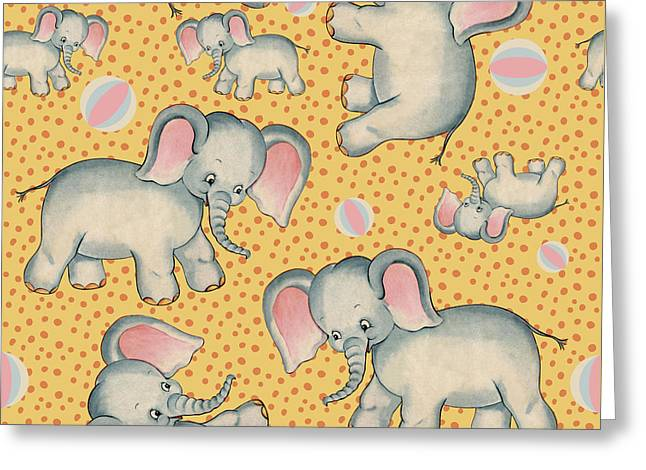 Cute Baby Elephant Pattern Vintage Illustration For Children Greeting Card by Tina Lavoie
