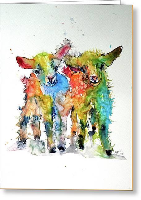 Cute Baby Goats Greeting Card by Kovacs Anna Brigitta