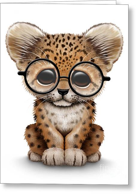 Cute Baby Leopard Cub Wearing Glasses Greeting Card by Jeff Bartels