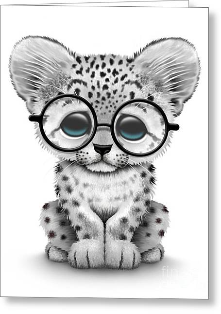Cute Baby Snow Leopard Cub Wearing Glasses Greeting Card
