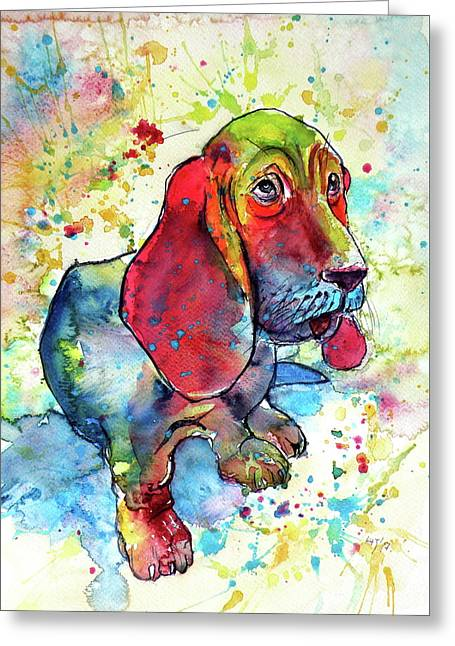 Greeting Card featuring the painting Cute Basset Hound by Kovacs Anna Brigitta