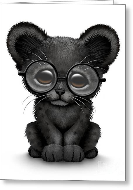 Cute Black Panther Cub Wearing Glasses Greeting Card