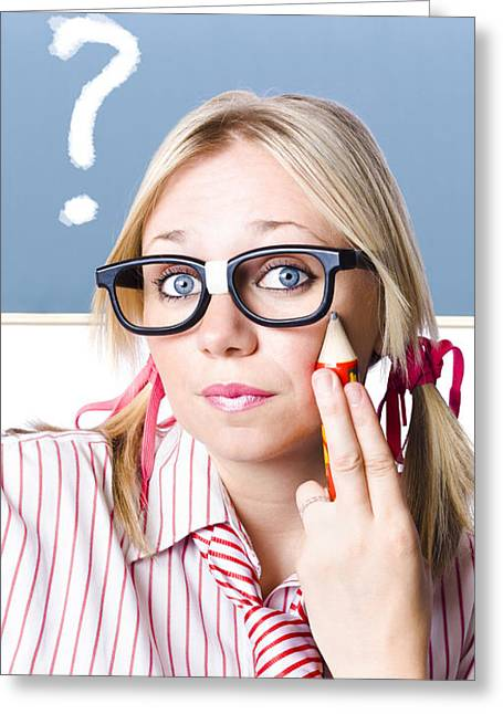Cute Blond Girl In Glasses Asking Big Question Greeting Card