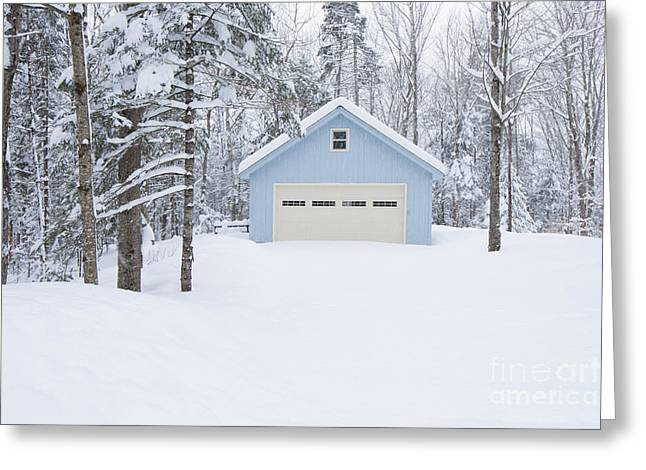 Cute Blue And Ivory Garage In The Snow Greeting Card
