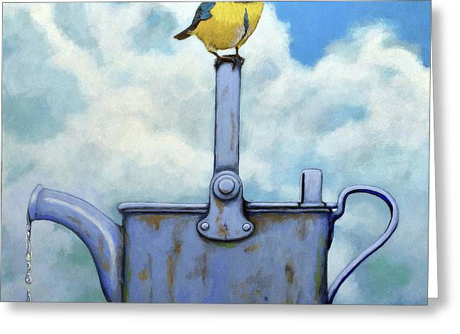 Cute Blue-tit Realistic Bird Portrait On Antique Watering Can Greeting Card by Linda Apple