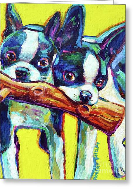 Cute Boston Terriers Greeting Card