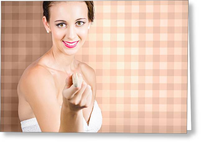 Cute Brunette Girl Pointing With Laundry Peg Greeting Card by Jorgo Photography - Wall Art Gallery