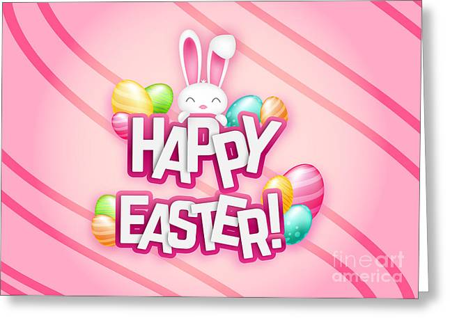 Greeting Card featuring the digital art Cute Bunny Pink Easter by JH Designs