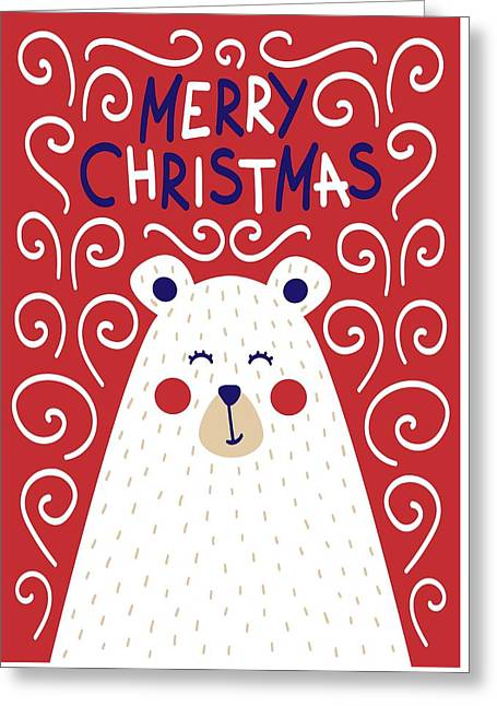 Greeting Card featuring the digital art Cute Christmas Card With A Picture Of A Bear In A Scandinavian S by Christopher Meade