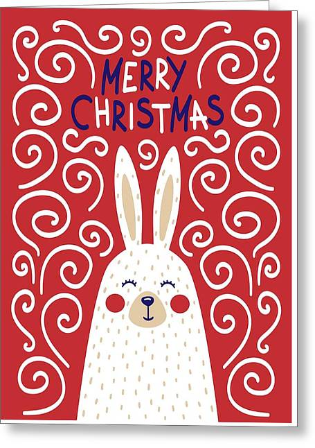 Greeting Card featuring the digital art Cute Christmas Card With A Rabbit In A Scandinavian Style by Christopher Meade