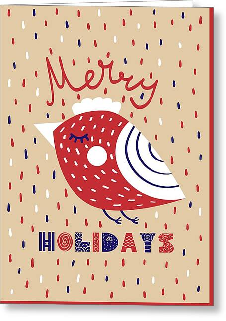 Greeting Card featuring the digital art Cute Christmas Cards With Image Of A Bird In A Scandinavian Styl by Christopher Meade