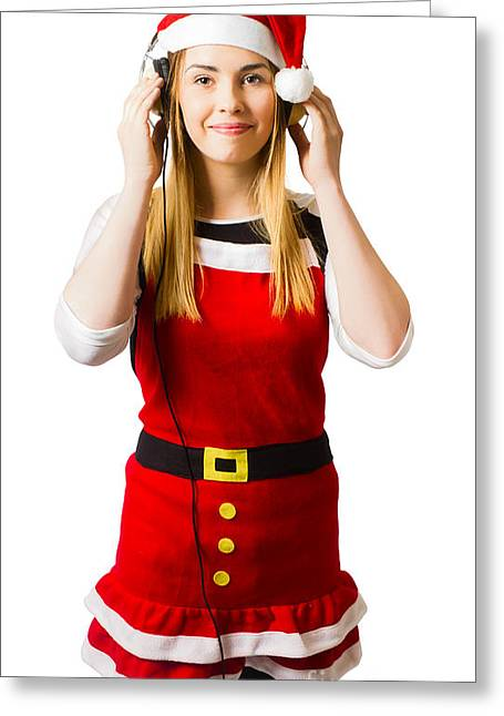 Cute Christmas Girl Listening To Holiday Music  Greeting Card by Jorgo Photography - Wall Art Gallery