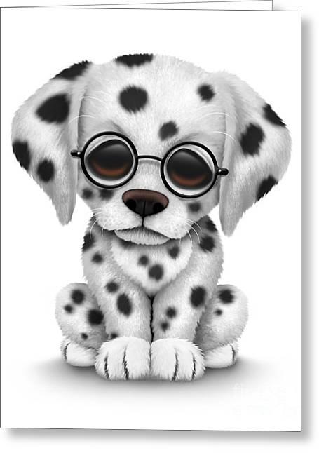 Cute Dalmatian Puppy Dog Wearing Eye Glasses Greeting Card by Jeff Bartels