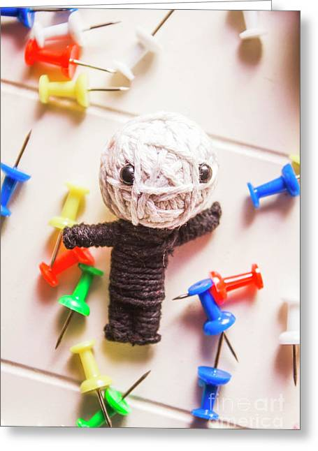 Cute Doll Made From Yarn Surrounded By Pins Greeting Card