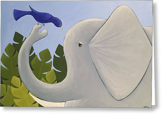 Cute Elephant Art Greeting Card by Christy Beckwith