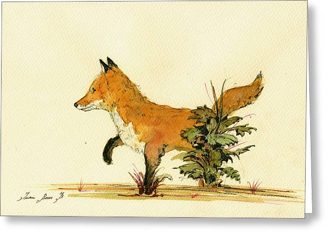 Cute Fox In The Forest Greeting Card