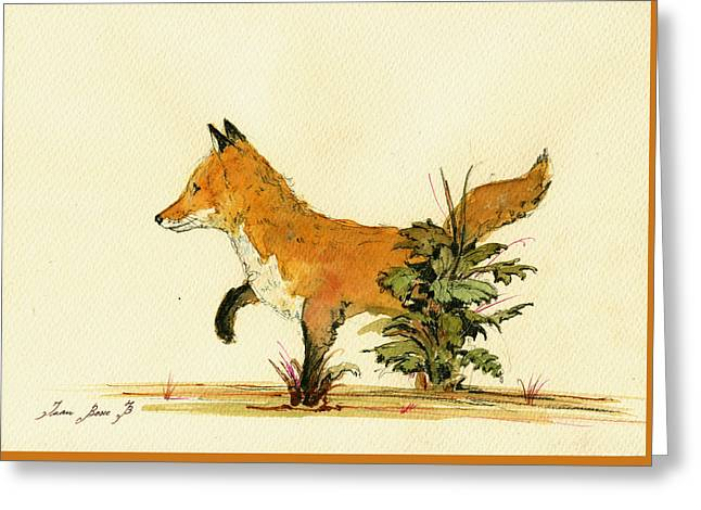 Cute Fox In The Forest Greeting Card by Juan  Bosco