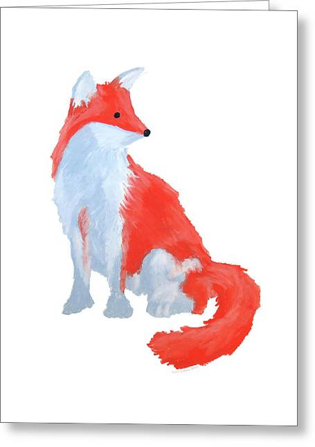 Cute Fox With Fluffy Tail Greeting Card