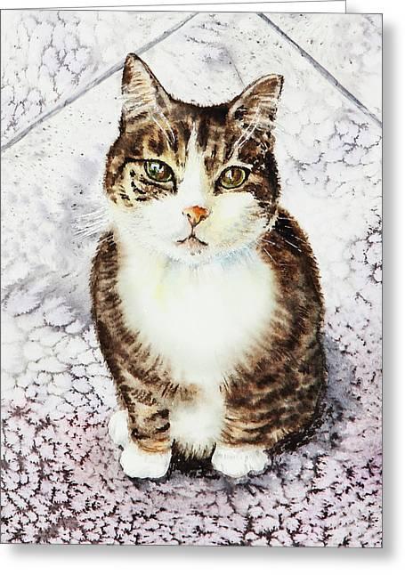 Cute Furry Friend Cat Painting Greeting Card
