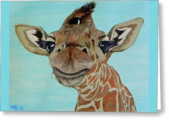 Cute Giraffe Baby Greeting Card by M Gilroy