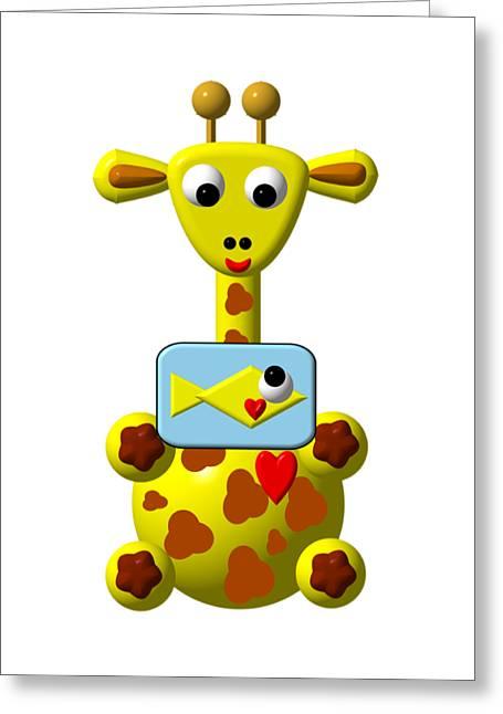 Cute Giraffe With Goldfish Greeting Card