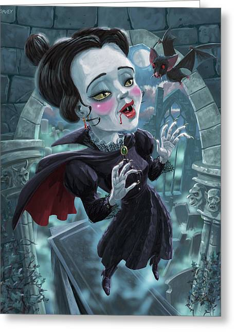 Greeting Card featuring the digital art Cute Gothic Horror Vampire Woman by Martin Davey