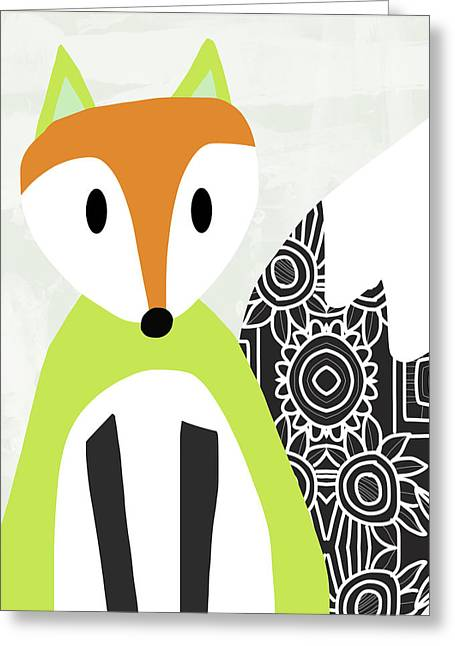Cute Green And Black Fox- Art By Linda Woods Greeting Card