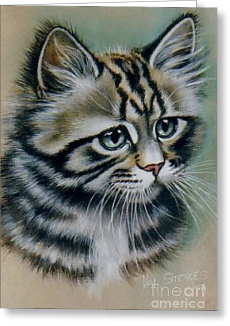 Cute Kitten Greeting Card by Val Stokes